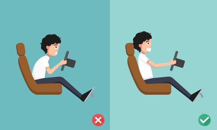 错误和正确驾驶姿势对比图图片免抠素材 健康医疗-第1张