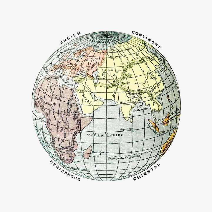 复古风格地球仪带经纬线的世界地图历史书插图图片免抠矢量素材