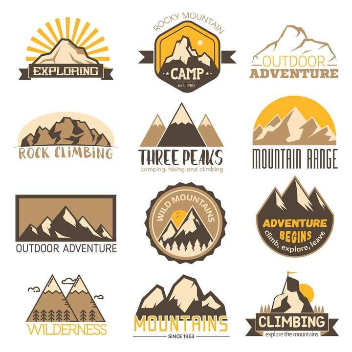 12款高山大山山脉古典风logo设计方案图片免抠矢量素材