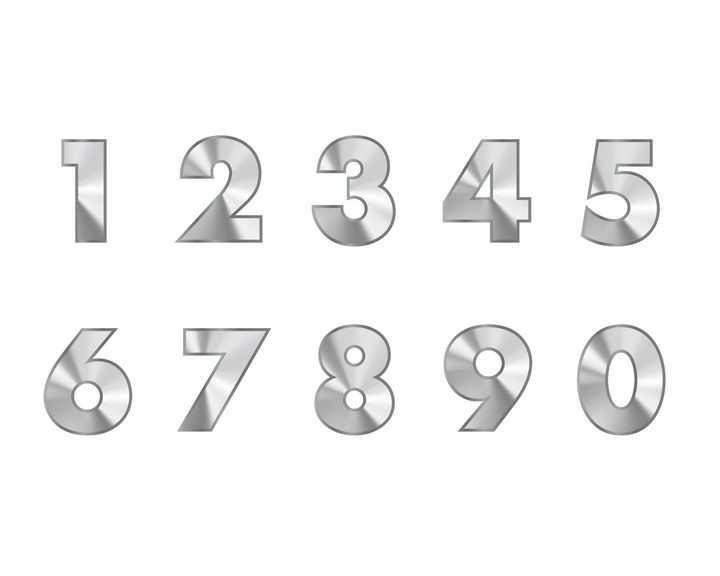 金属光泽数字字体图片免抠素材