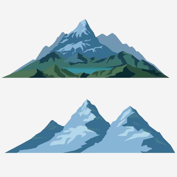 2款扁平化大山高山山脉图片免抠矢量素材