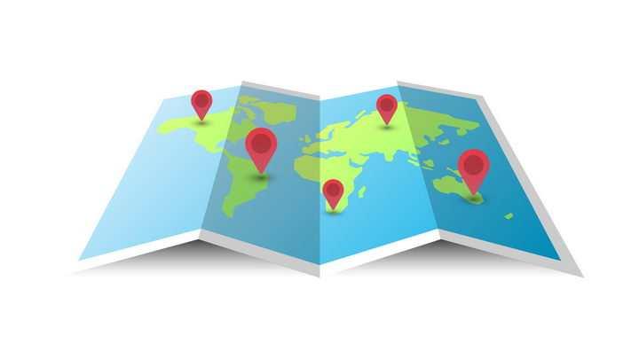 展开的世界地图和上面的红色定位标志图片免抠矢量素材