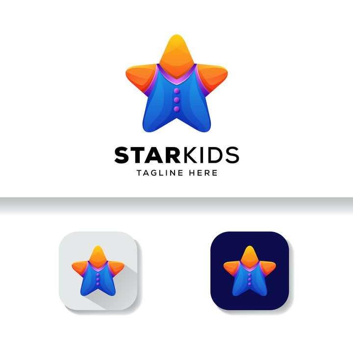 可爱穿着牛仔裤的五角星服装设计logo设计方案图片免抠素材