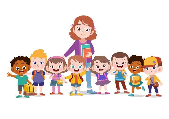 和孩子站成一排打招呼的卡通老师图片免抠矢量素材