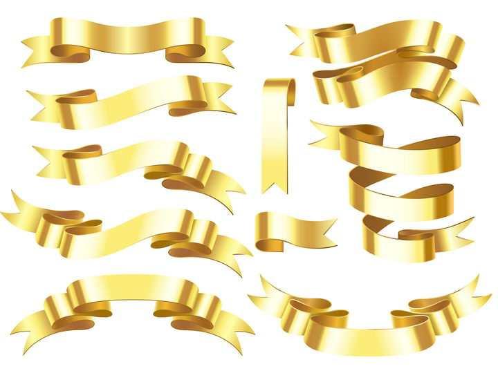 10款金色金属风格旗帜标签图片免抠矢量素材