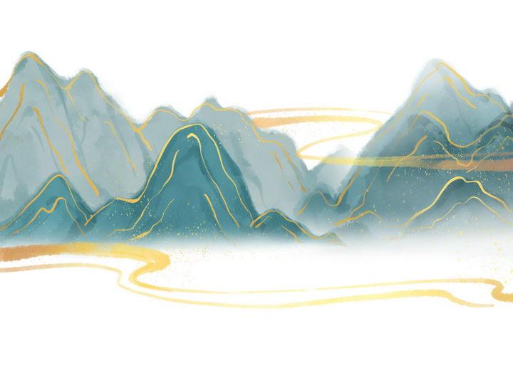 带有金丝装饰的青色水墨画风格群山风景图图片免抠png素材 插画-第1张