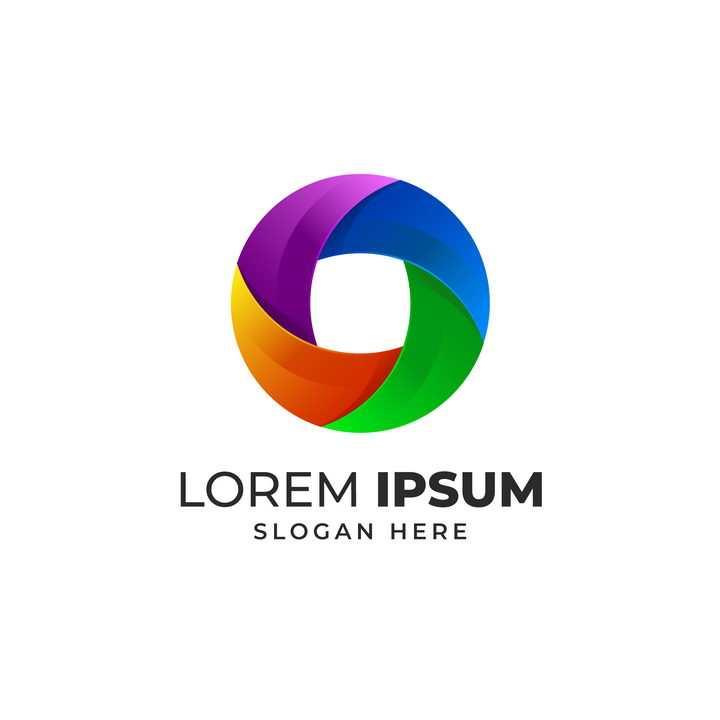 紫橙绿蓝彩色圆环LOGO设计方案图片免抠矢量素材
