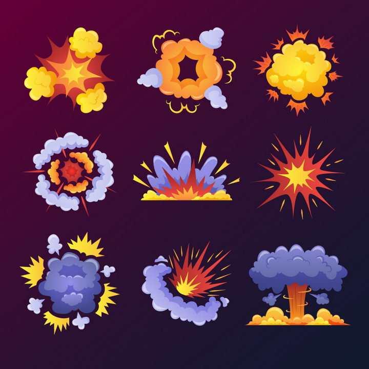 9款紫色橙色漫画爆炸效果图片免抠素材