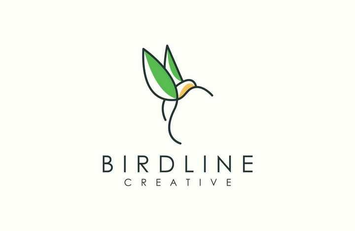创意简约线条蜂鸟logo设计方案图片免抠矢量素材