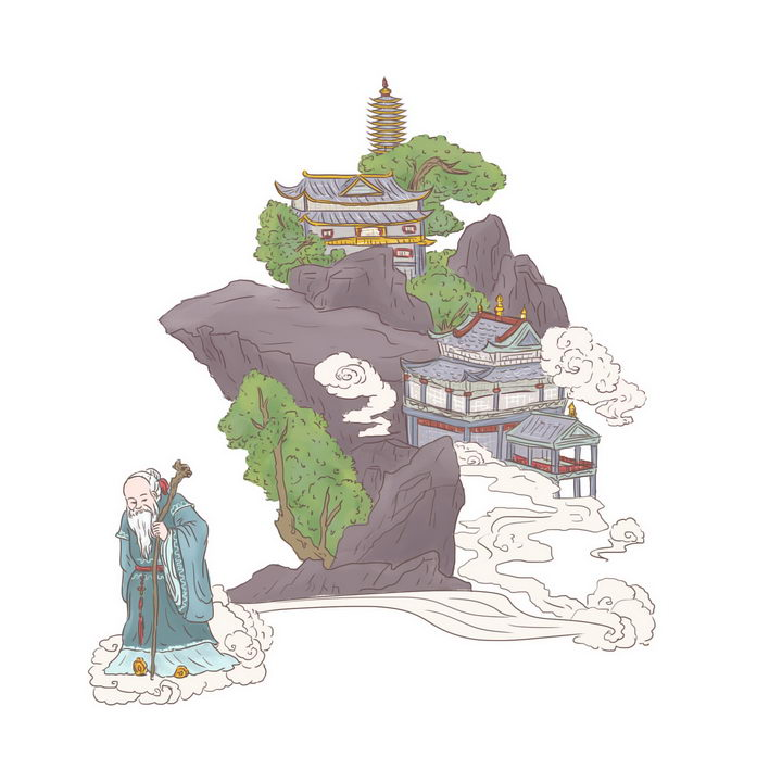 徐福求仙中国传统神话人物传说故事手绘彩色插图图片免抠png素材 教育文化-第1张