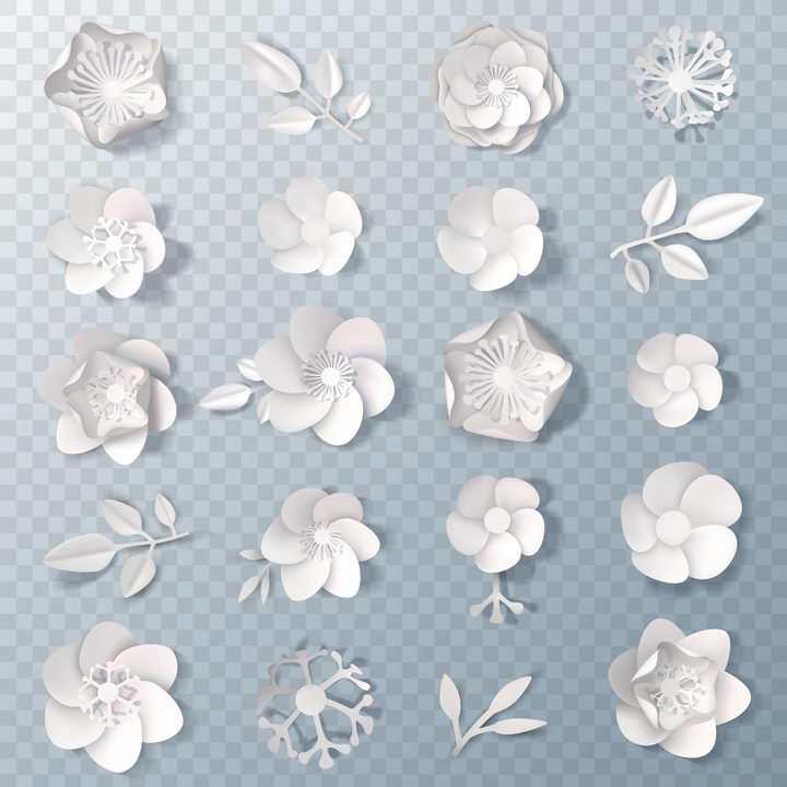 20款白色剪纸风格的立体花朵和叶子图案图片免抠矢量素材