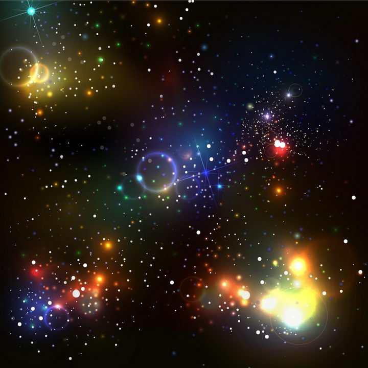 彩色绚丽的宇宙星空星光效果图片免抠矢量图素材