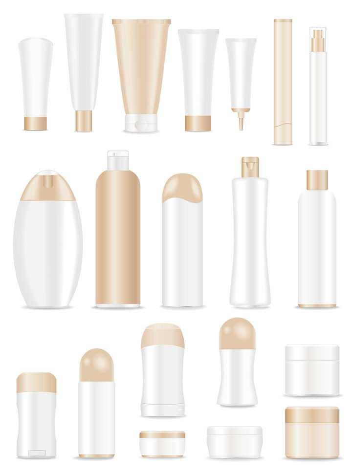 20款各种形状的洗发水洗面奶等金色化妆品护肤品瓶子图片免抠矢量素材