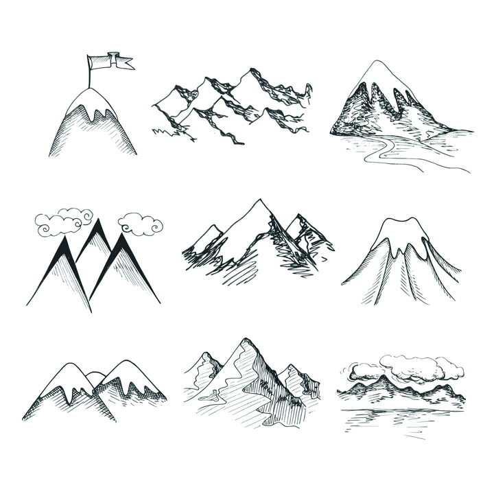 9款手绘素描登上顶峰大山高山山脉图片免抠矢量素材