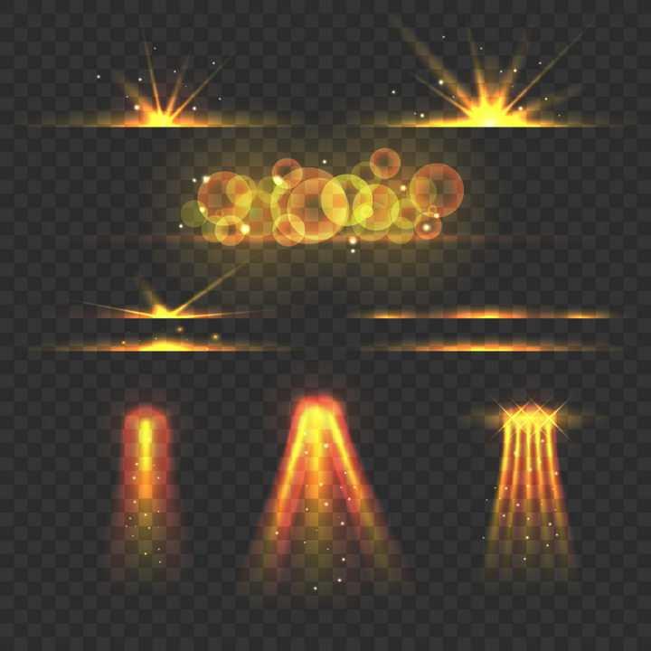 8款金黄色光芒四射光晕光线效果图片免抠矢量图素材