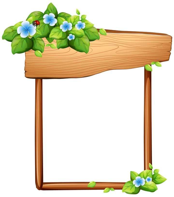 白色小花和树叶装饰的木板构成木制边框图片免抠矢量素材
