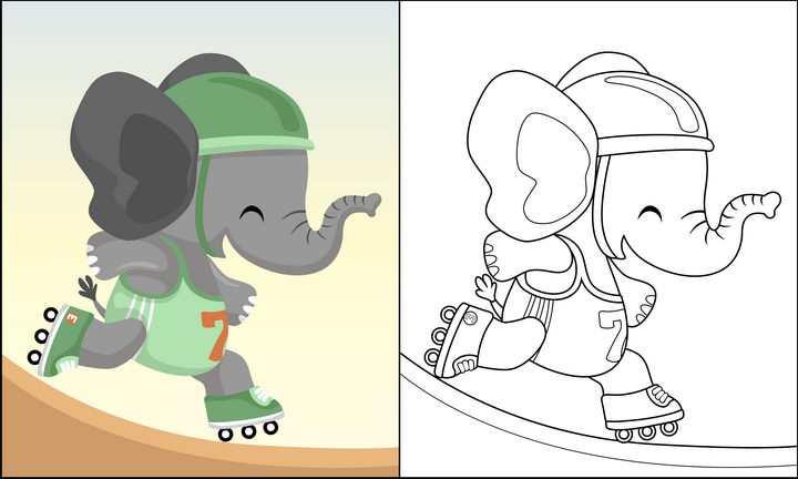 正在玩滑轮的卡通大象简笔画图片免抠素材
