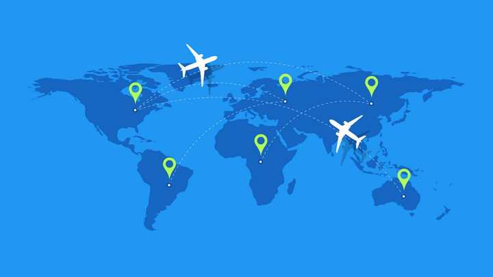 蓝色世界地图和定位图标与飞机旅游线路图片免抠矢量素材