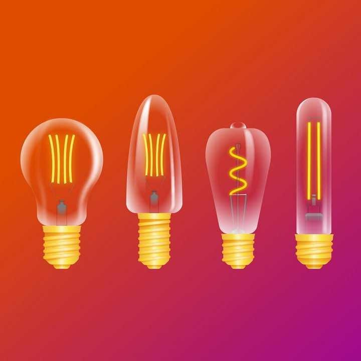 四种黄色灯丝的白炽灯电灯泡图片免抠矢量素材