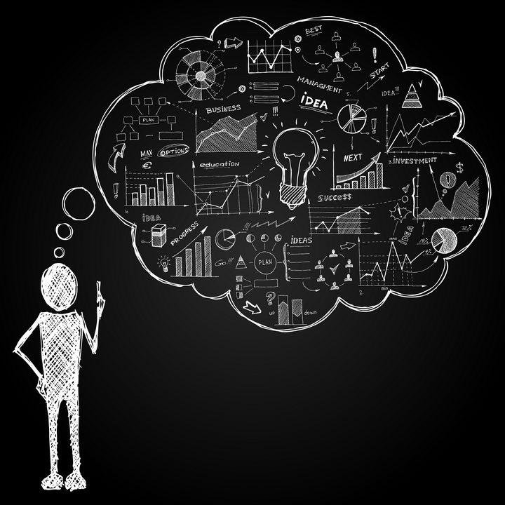 粉笔手绘黑板画风格正在思考学习的涂鸦小人图片免抠矢量素材 插画-第1张