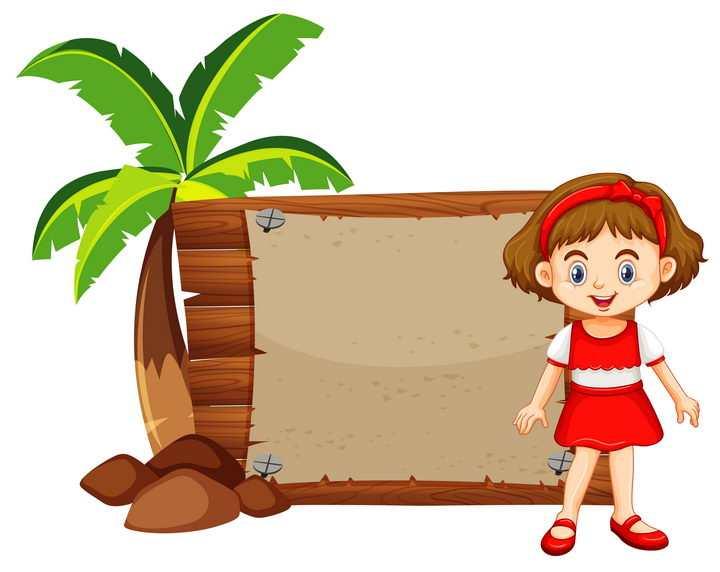 椰子树和卡通小女孩木板文本框图片免抠矢量素材