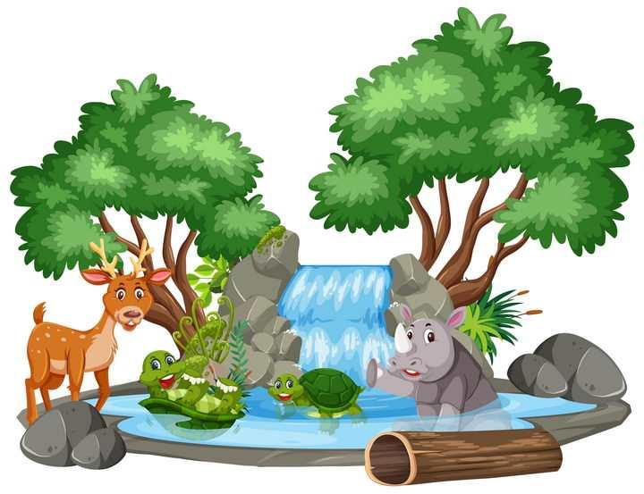 卡通风格树木和瀑布以及卡通梅花鹿乌龟犀牛等图片免抠矢量素材