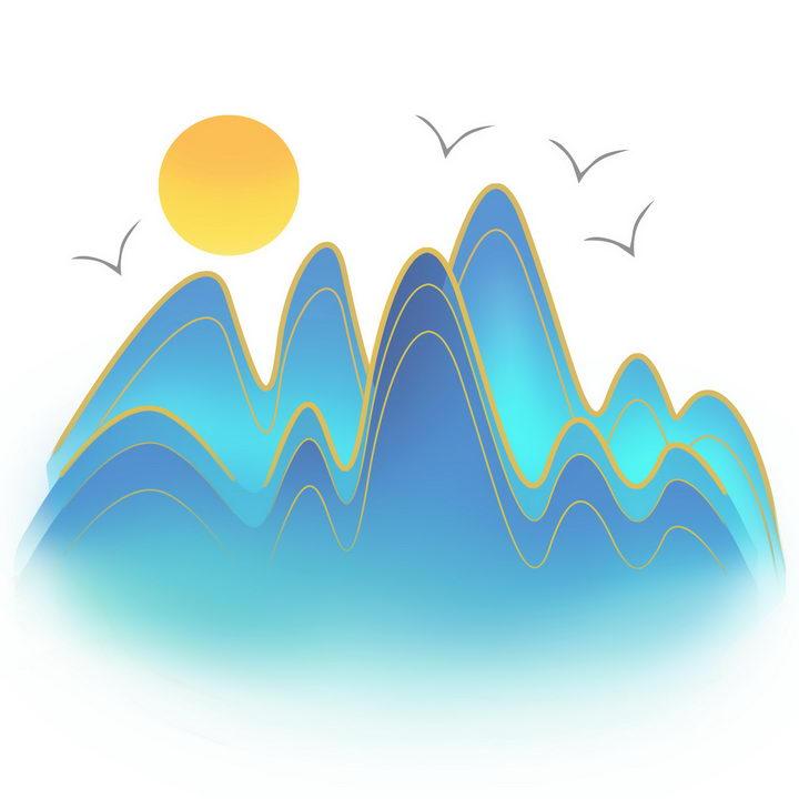 中国风的群山和太阳风景图图片免抠png素材 插画-第1张