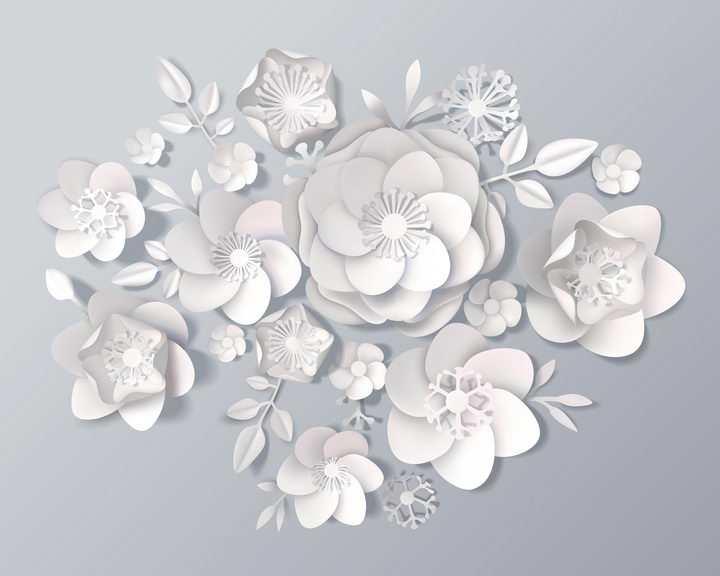 白色剪纸风格花朵和叶子立体装饰图片免抠矢量素材
