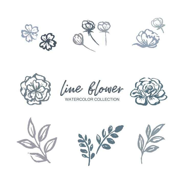 纯色水彩画花朵和叶子图片免抠素材