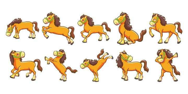 10款卡通风格可爱的小马图片免抠矢量图素材