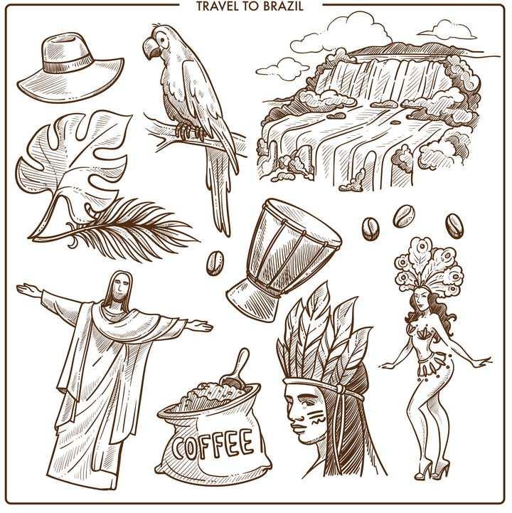 棕色手绘素描风格鹦鹉基督像等巴西旅游标志图片免抠矢量素材