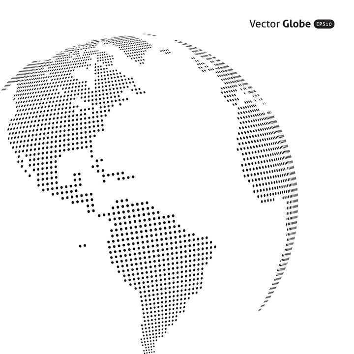 简约点阵组成的地球世界地图图案图片免抠矢量素材