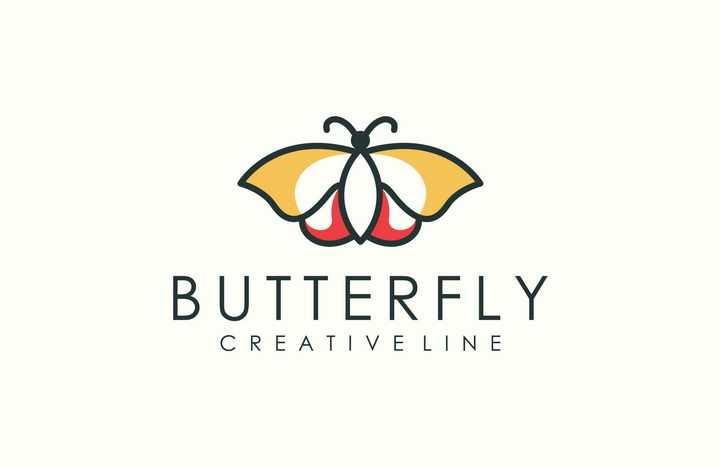 创意线条简约蝴蝶logo设计方案图片免抠矢量素材