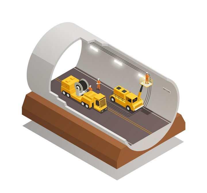 2.5D风格海底隧道建设剖面图图片免抠矢量素材