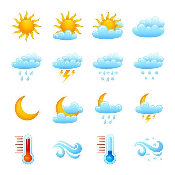16款水晶风格晴天多云雷阵雨高温低温等天气预报图标图片免抠矢量素材