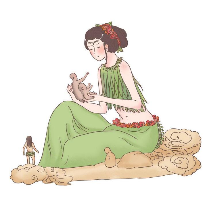 女娲造人中国传统神话人物传说故事手绘彩色插图图片免抠png素材 教育文化-第1张