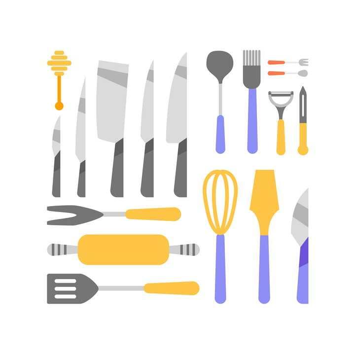 扁平化风格厨房刀具锅铲等厨房用品图片免抠矢量素材