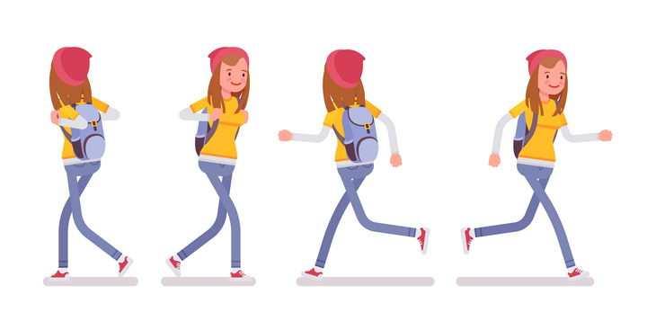 4款兴高采烈情绪的卡通黄衣女孩放学了图片免抠矢量素材