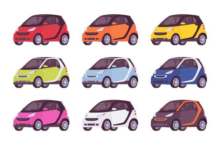9款卡通小汽车电动汽车图片免抠矢量素材