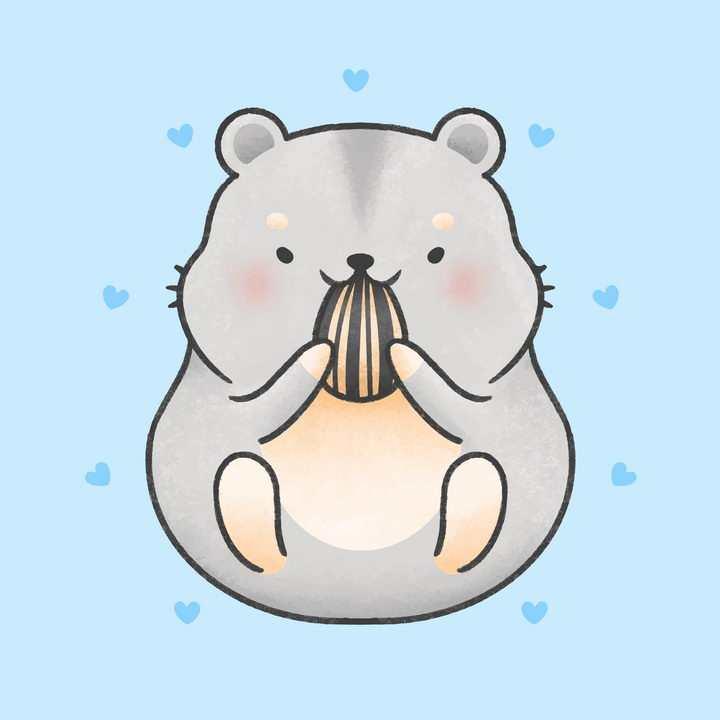 可爱卡通风格吃瓜子的小老鼠仓鼠图片免抠矢量图素材