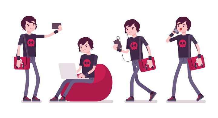 4款沮丧情绪的玩手机笔记本电脑的卡通男孩图片免抠矢量素材