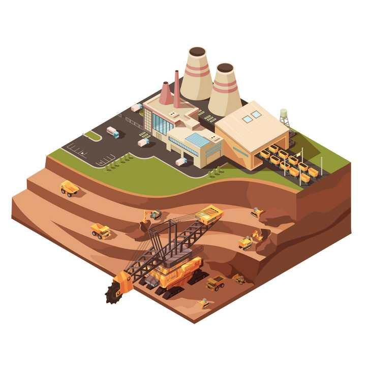 2.5D风格露天矿场大型挖掘机正在采矿煤矿送入火力发电厂图片免抠矢量素材