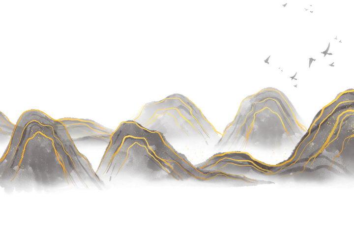 带有金丝装饰的水墨画风格群山风景图图片免抠png素材