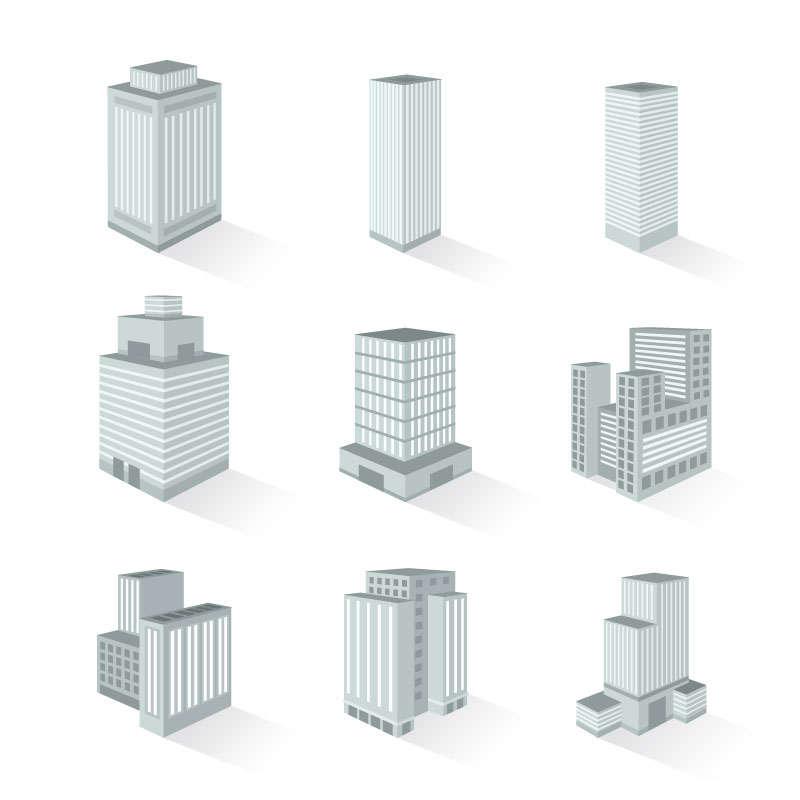 9款灰白色的摩天大楼高楼大厦图片免抠矢量图素材
