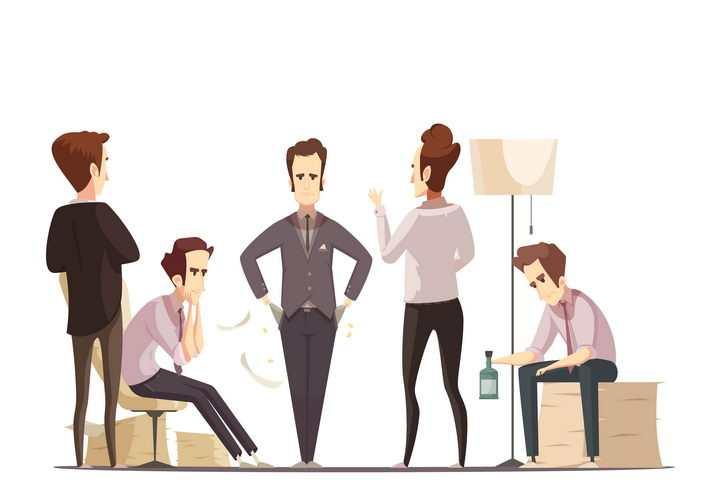 卡通漫画风格不开心的男人借酒浇愁图片免抠素材