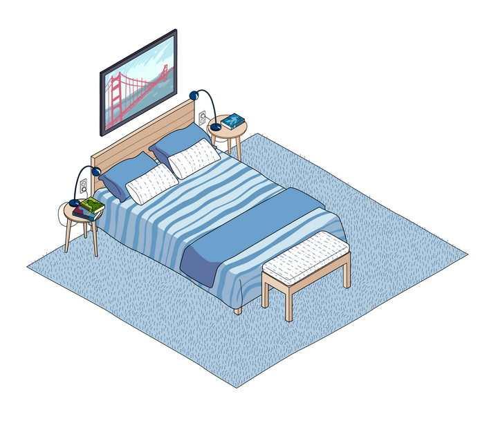 2.5D手绘风格蓝色男孩房间内的双人床免抠矢量图素材