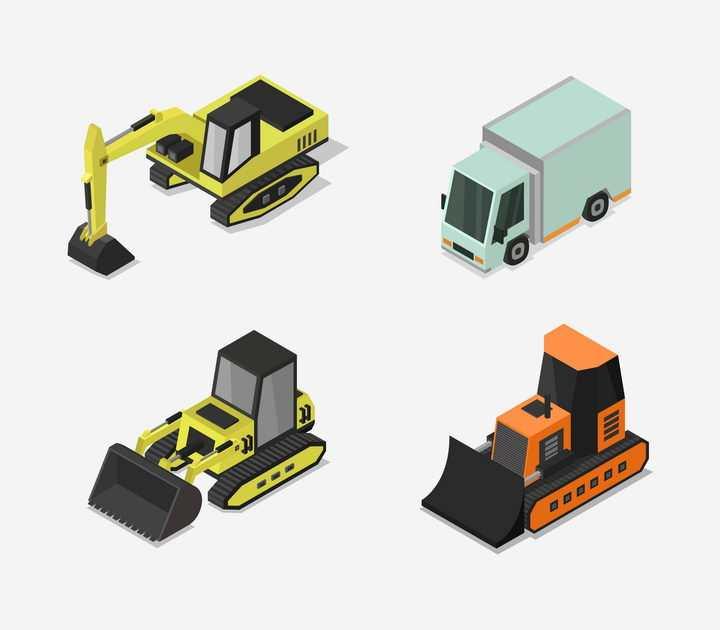 2.5D风格挖掘机推土机和小货车免抠矢量图素材