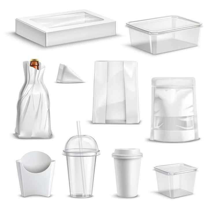 各种空白包装的微波饭盒纸袋子一次性杯子等图片免抠矢量素材
