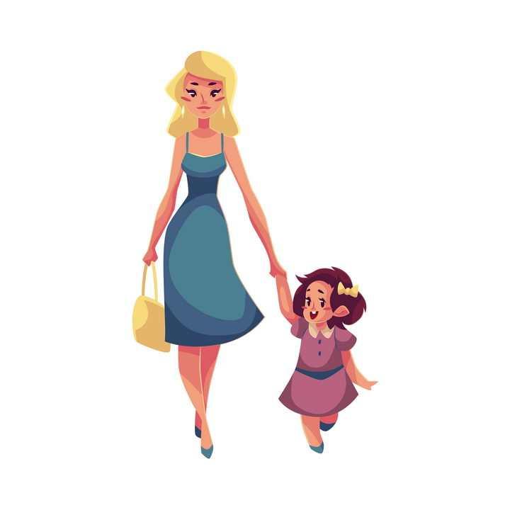 插画风格年轻的妈妈牵着女儿的手母女温情图片免抠矢量图素材