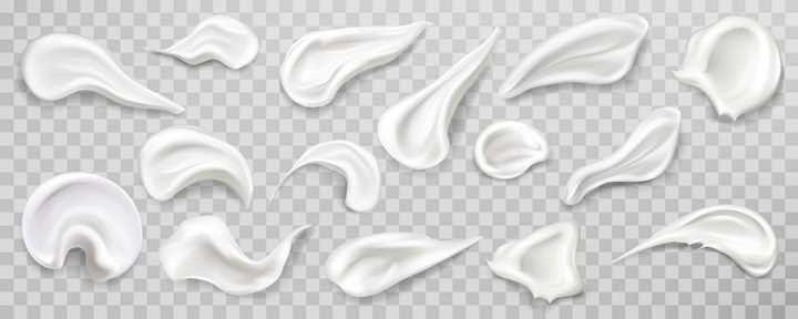 各种各样的白色乳液涂抹效果图片免抠矢量图素材